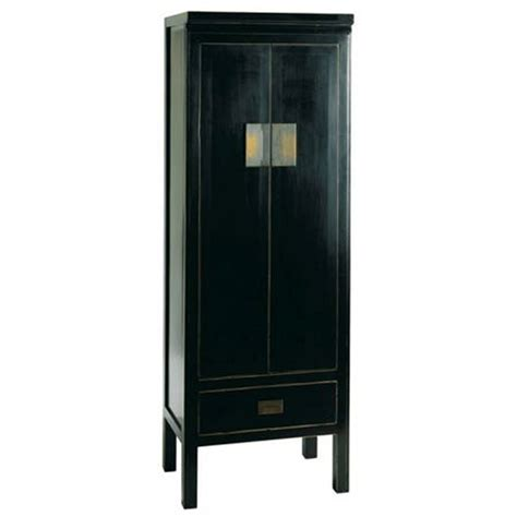 oriental narrow storage cabinet distressed lacquer