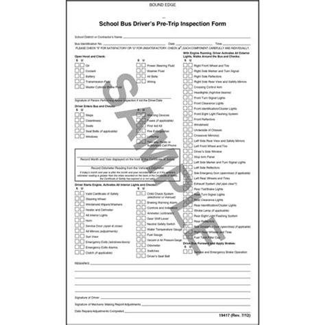 school bus drivers pre trip inspection form wcarbon