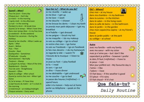 ks french daily routine vocabulary worksheet