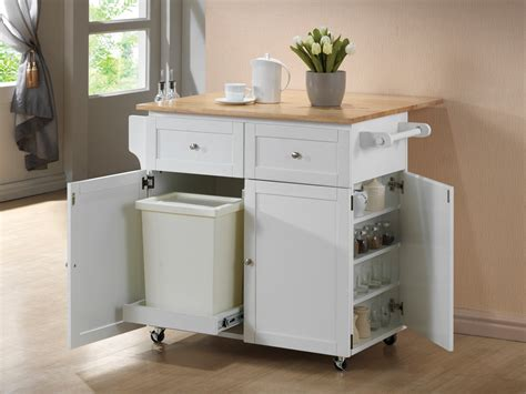 White/natural Kitchen Cart From Coaster (