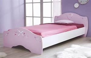 Lit papillon rose blanc for Suspension chambre enfant avec matelas ressort ou matelas latex