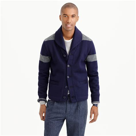 mens cardigan sweaters navy j crew dehen shawl collar cardigan sweater in navy wool in