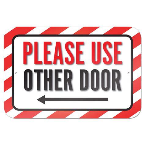 use other door use other door left arrow 9 quot x 6 quot metal sign ebay