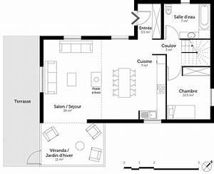 plan maison 110 m2 avec veranda ooreka With plan maison entree sud 3 plan maison moderne en u ooreka
