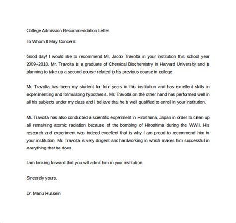 Letter Of Recommendation Template For College Admission by Sle College Recommendation Letter 14 Free Documents