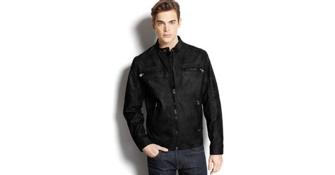 calvin klein quilted faux leather moto jacket in black for
