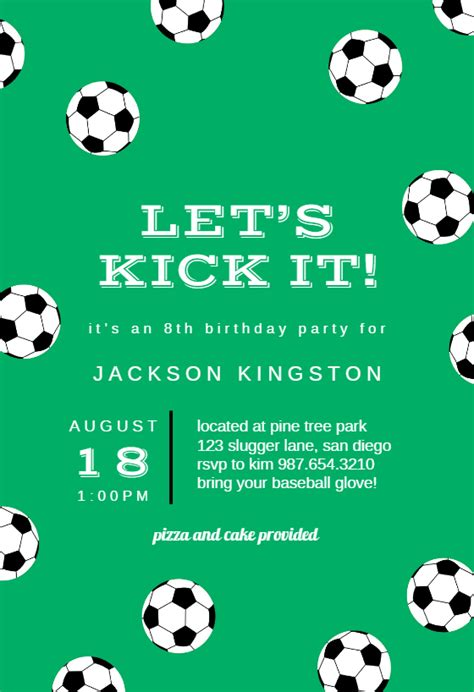 soccer birthday sports games invitation template