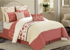 8 piece queen spring coral ivory comforter set