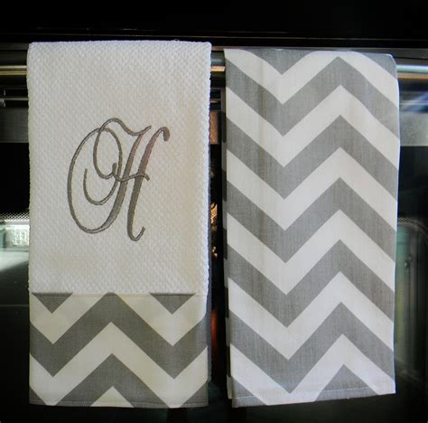 Monogram Kitchen Towels Or Hand Towels In Grey  White Chevron