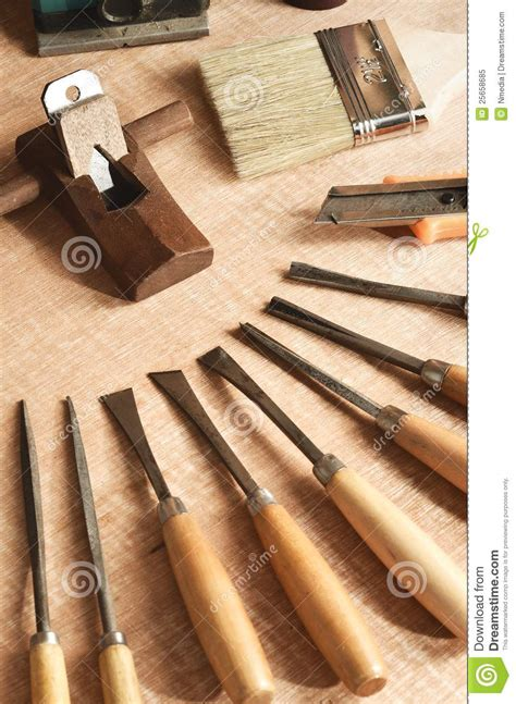 wood working tools  stock image image  sculpting