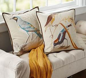 scientific bird embroidered pillow covers pottery barn With bird pillows pottery barn