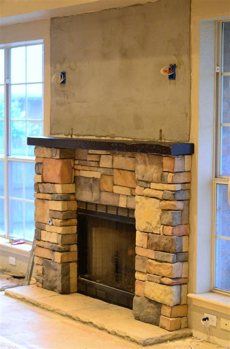 Fireplace Renovation Laying Stone Front Porch Cozy