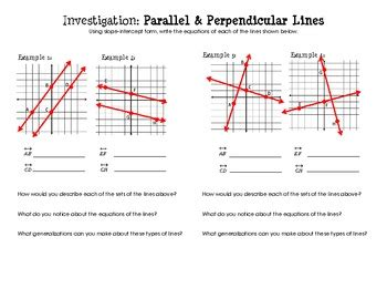 equations of parallel perpendicular lines discovery worksheet