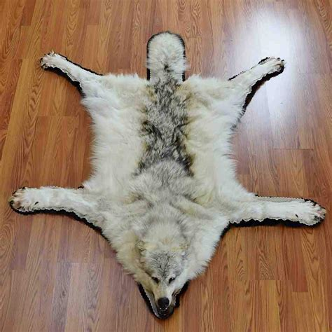 Skin Rug With gray wolf hide rug sw5652 at safariworks taxidermy
