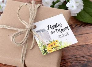 Sunflower jar small custom wedding tags labelsrus for Small tags for wedding favors