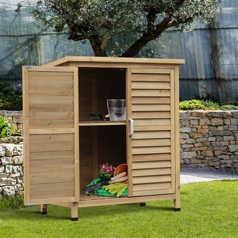 outsunny garden storage shed solid fir wood garage