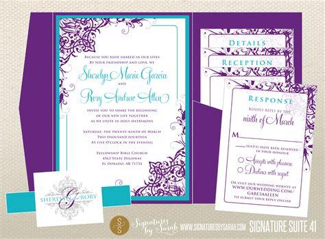 Purple And Teal Wedding Invitations Purple And Teal