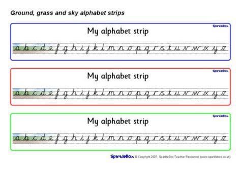 ground grass  sky alphabet strips cursive sb