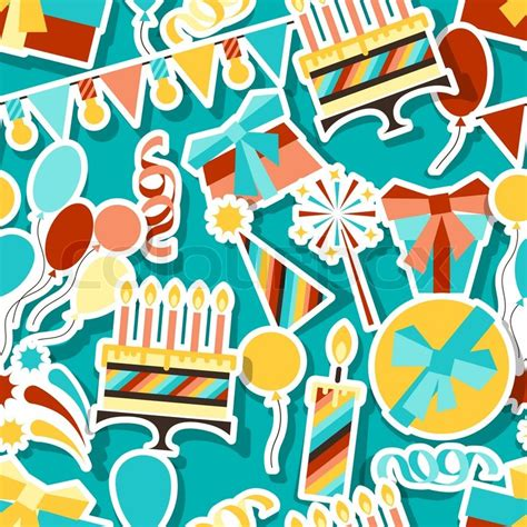 happy birthday seamless pattern stock vector