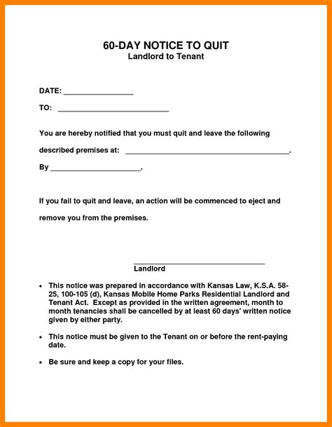 Template For 60 Day Notice To Vacate 60 day notice vacate template competent photo landlord 9