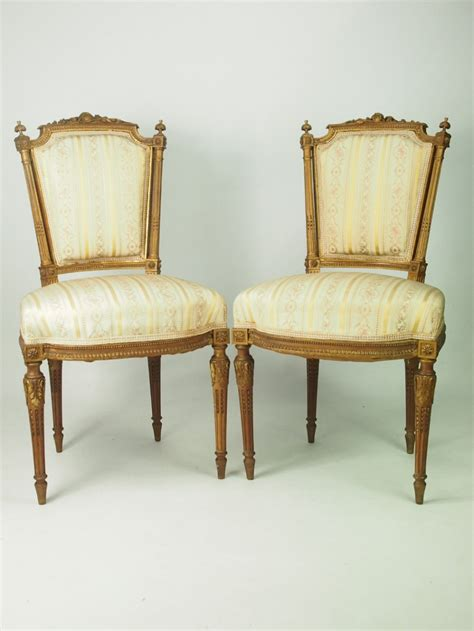pair of antique giltwood side chairs in louis xvi