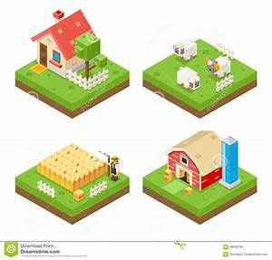 Isometric 3d Vector Illustration Of Farm  Vector
