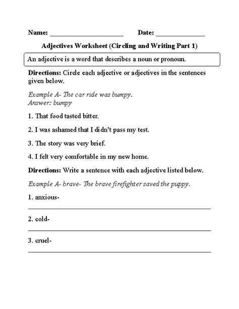 adjective worksheets 6th grade free worksheets library