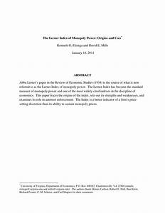 Pdf  The Lerner Index Of Monopoly Power  Origins And Uses
