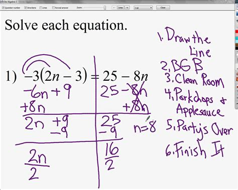 solving equations with variables on both sides and with
