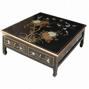 Table Basse Chinoise : table basse asiatique 4 tiroirs laque noire magasin du ~ Melissatoandfro.com Idées de Décoration