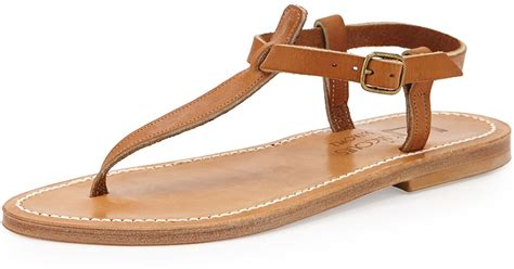 K. Jacques Leather T-strap Flat Sandal In Brown