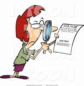 cartoon red headed woman using a magnifying glass to With documents cartoon images
