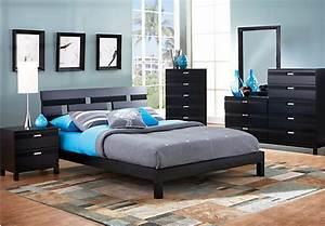 Gardenia Black 6 Pc Queen Platform Bedroom