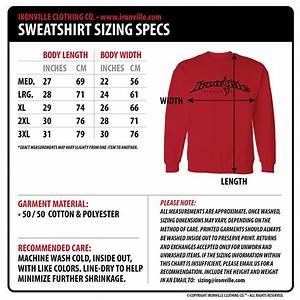 Hoodie Size Chart Height