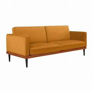 giorgio canape 3 places en velours jaune et base en cuir With canapé cuir jaune