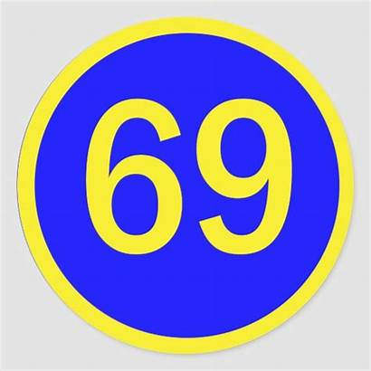 69 Number Circle Stickers Sticker Round Classic
