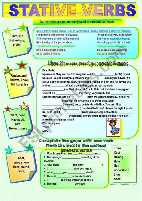 stative verbs esl worksheet by nkappa