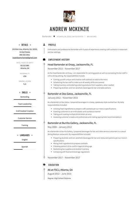 Bartender Responsibilities Resume by Beaufiful Bartender Resume Description Images Gallery