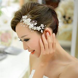Free Shipping White Pearl Crystal Hairwear With Comb