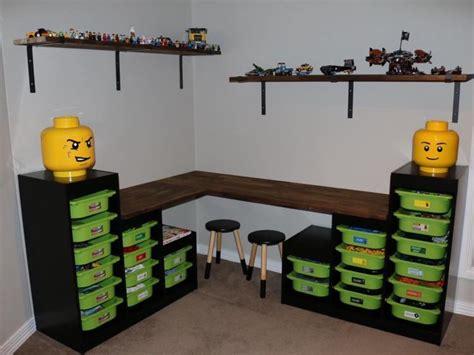 bureau playmobil lego storage table desk ikea trofast pinteres
