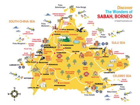 sabah map guide borneo regent   ocean