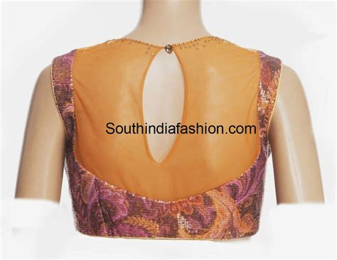Boat Neck Blouse Back by Boat Neck Sequins Blouse South India Fashion