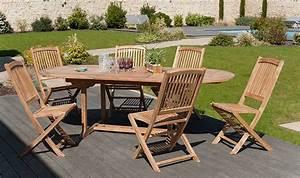 Salon De Jardin En Teck : salon de jardin en teck massif avec 6 chaises pliantes delhi ~ Teatrodelosmanantiales.com Idées de Décoration