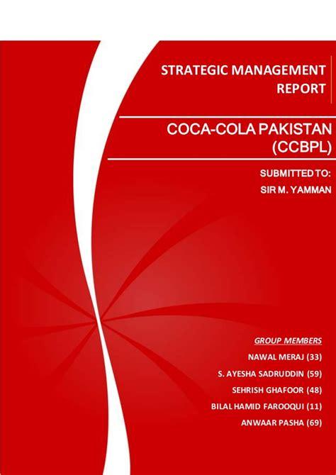 strategic management report coca cola pakistan