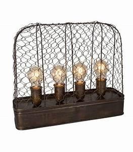 Lampe Type Industriel : lampe poser style industriel m tal grillag 4 ampoules ~ Melissatoandfro.com Idées de Décoration