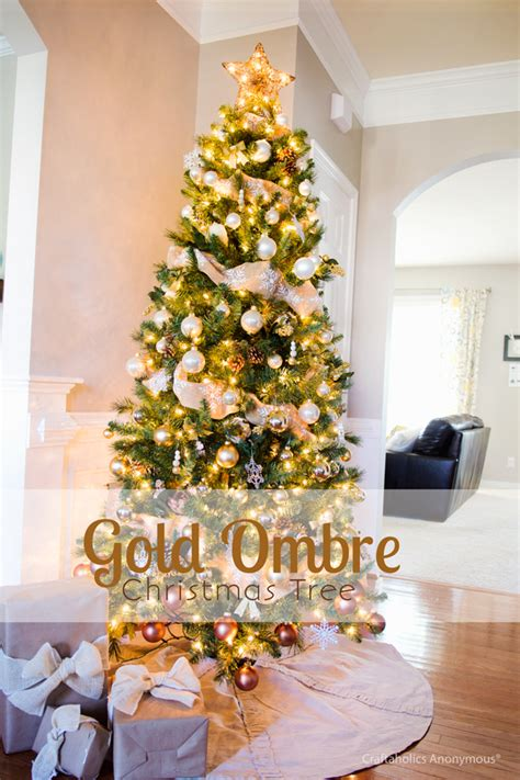 craftaholics anonymous gold ombre christmas tree reveal
