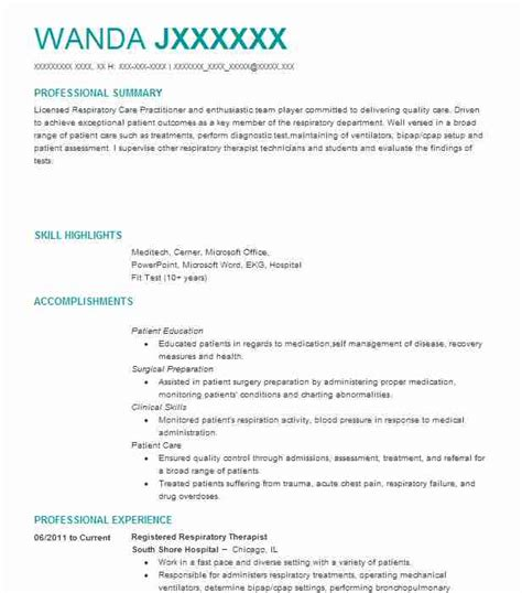 Respiratory Therapist Resume Sles by Respiratory Therapist Resume Exle Advanced Care