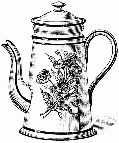 Teapot Tea Coloring Drawing Kettle Pages Printable