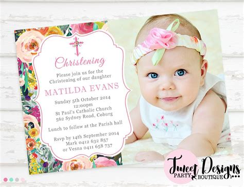 baptism invitation christening invitation  baby girl