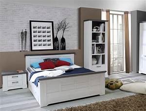 Jugendbett 140x200 Weiß : bett gaston 140x200 cm schneeeiche weiss grau komfortbett jugendbett wohnbereiche schlafzimmer ~ Markanthonyermac.com Haus und Dekorationen